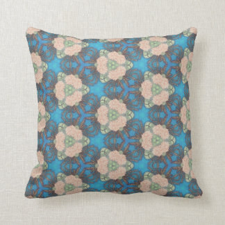 Oriental bloom pattern with ocean blue background cushion