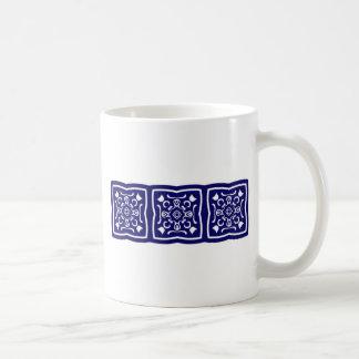 Oriental blue tile pattern basic white mug