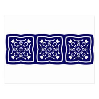 Oriental blue tile pattern postcard