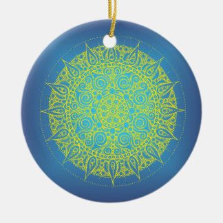 Oriental Blue/Yellow Design Christmas Ornament