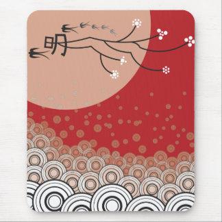 Oriental Bright Moon Swallows Birds Zen Modern Art Mouse Mat