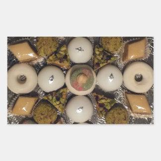 Oriental cakes rectangular sticker