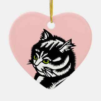 Oriental Cat- Any Colour Ceramic Heart Decoration