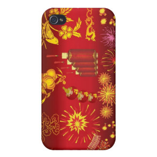 oriental celebrations red gold special fun party iPhone 4 cover