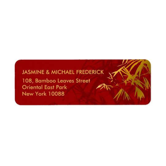 Oriental Chic Bamboo Leaves Gold Red Address Label