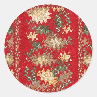 Oriental Chinese Red waves Silken Fabric Textures Round Sticker