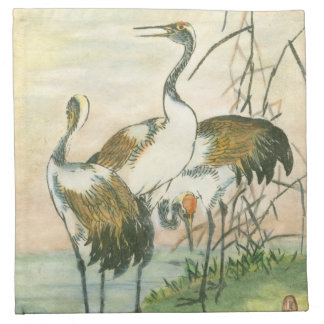 Oriental Cranes by the Water Napkin