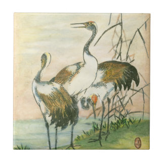 Oriental Cranes by the Water Tile