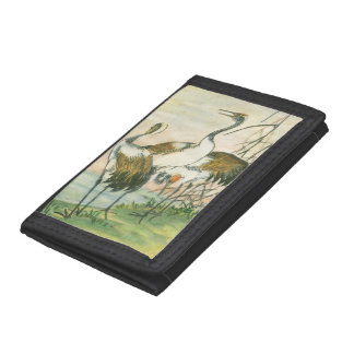 Oriental Cranes by the Water Tri-fold Wallet