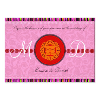 Oriental double happiness wedding invitation card
