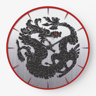 Oriental Dragon Black Large Clock