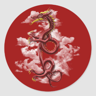 Oriental dragon classic round sticker