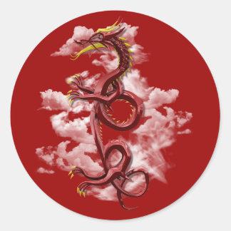 Oriental dragon round sticker