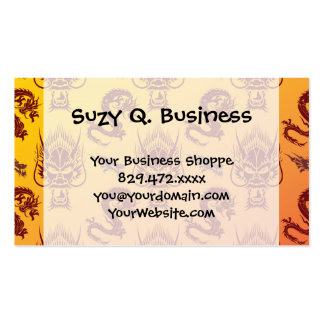 Oriental Dragons Creatures Pattern Maroon Gold Pack Of Standard Business Cards