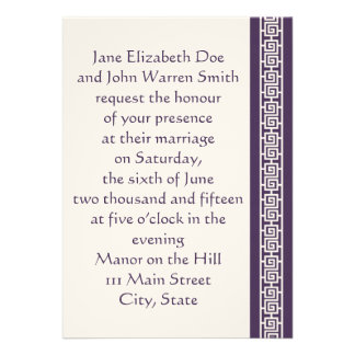 Oriental Elegance in Purple Wedding Invitation