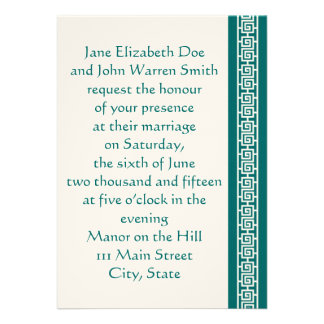 Oriental Elegance in Teal Wedding Invitation