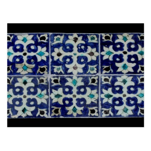 Oriental flagging pattern - blue postcard