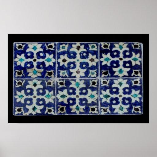 Oriental flagging pattern - blue poster