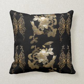Oriental Flair Birds on Gold Leaf Pillow