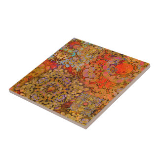 """Oriental Flare"" Small Square Tile"