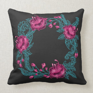 Oriental floral wreath embroidery cushion