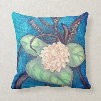 Oriental flower bloom with blue background cushion