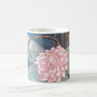 Oriental flower bloom with ocean blue background coffee mug