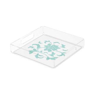 Oriental Flower - Limpet Shell Circular Pattern Acrylic Tray