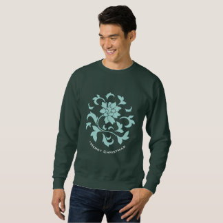 Oriental Flower-Limpet Shell-Merry Christmas-Green Sweatshirt