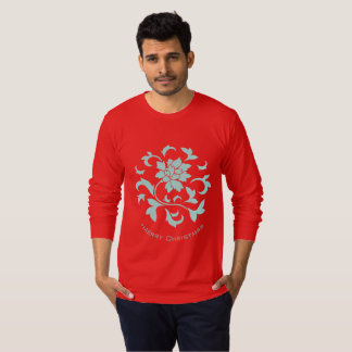 Oriental Flower-Limpet Shell-Merry Christmas-Red T-Shirt