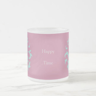 Oriental Flower - Limpet Shell - Pink Frosted Glass Coffee Mug