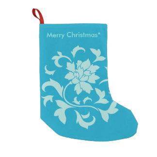 Oriental Flower - Merry Christmas - Blue Small Christmas Stocking