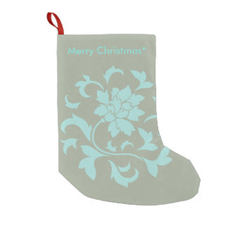 Oriental Flower - Merry Christmas - Olive green Small Christmas Stocking