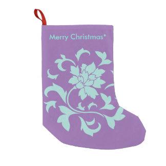 Oriental Flower - Merry Christmas - Purple Small Christmas Stocking