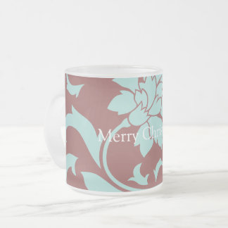 Oriental Flower - Merry Christmas - Red Frosted Glass Coffee Mug