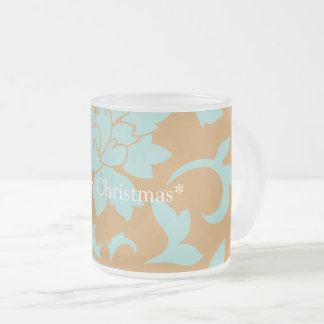 Oriental Flower - Merry Christmas - Yellow Frosted Glass Coffee Mug