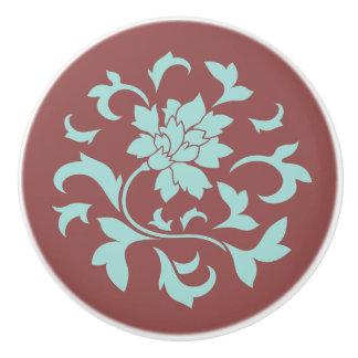 Oriental Flower - Mint - Chocolate Ceramic Knob