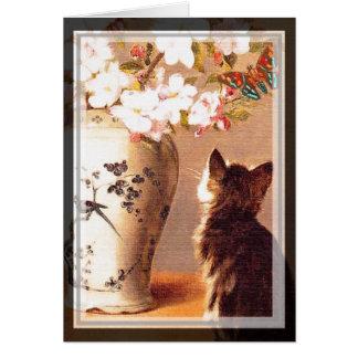 Oriental flowers and butterflies card