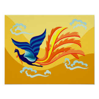 Oriental Flying Phoenix Poster