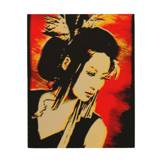 Oriental girl modern watercolour digital on wood wood print
