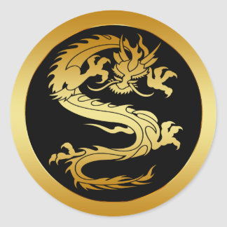 ORIENTAL GOLD DRAGON CLASSIC ROUND STICKER