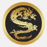 ORIENTAL GOLD DRAGON ROUND STICKER