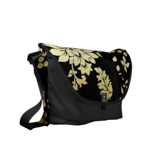Oriental Golden Flowers on Black Messenger Bags
