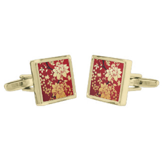 Oriental Golden Flowers on Red Gold Finish Cuff Links