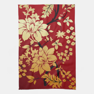 Oriental Golden Flowers on Red Tea Towel