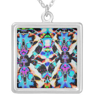 Oriental Good Luck Patterns Square Pendant Necklace