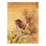 Oriental Grey Heron with Hibiscus Flowers Postcard
