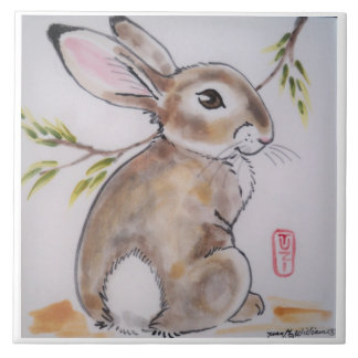 Oriental/Japanese design bunny rabbit tile/trivet Large Square Tile