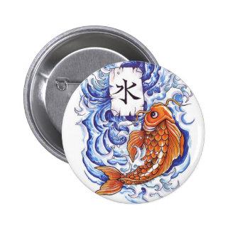 oriental koi 6 cm round badge