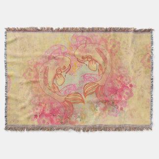 Oriental Koi Carp, Throw Blanket